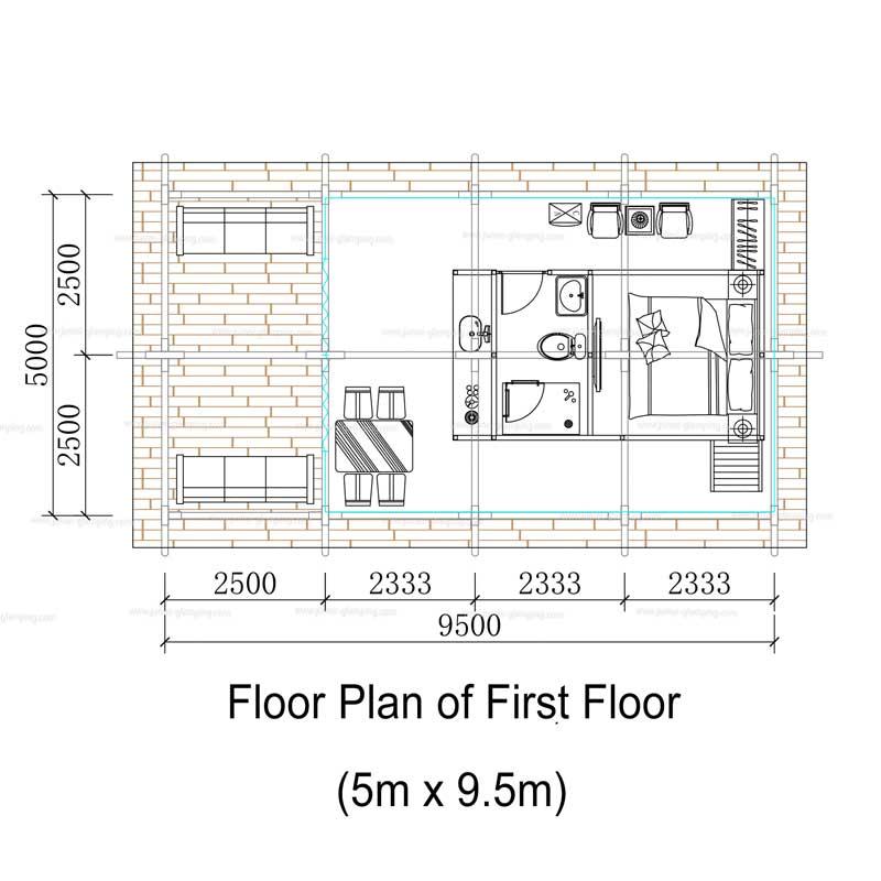 Floor Plan of Two Storey Safari Tent(First Floor)