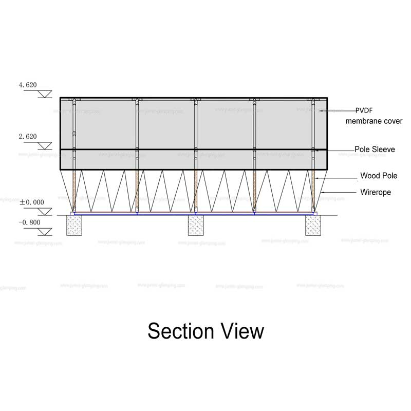 Section View of Two Storey Safari Tent